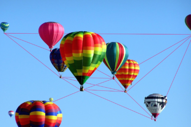 A network of bright balloons