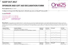 Sleep out 2017 sponsor form