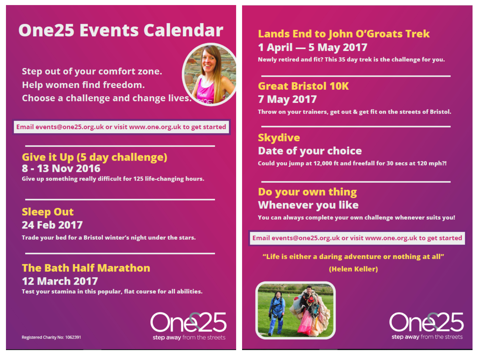 One25 events calendar