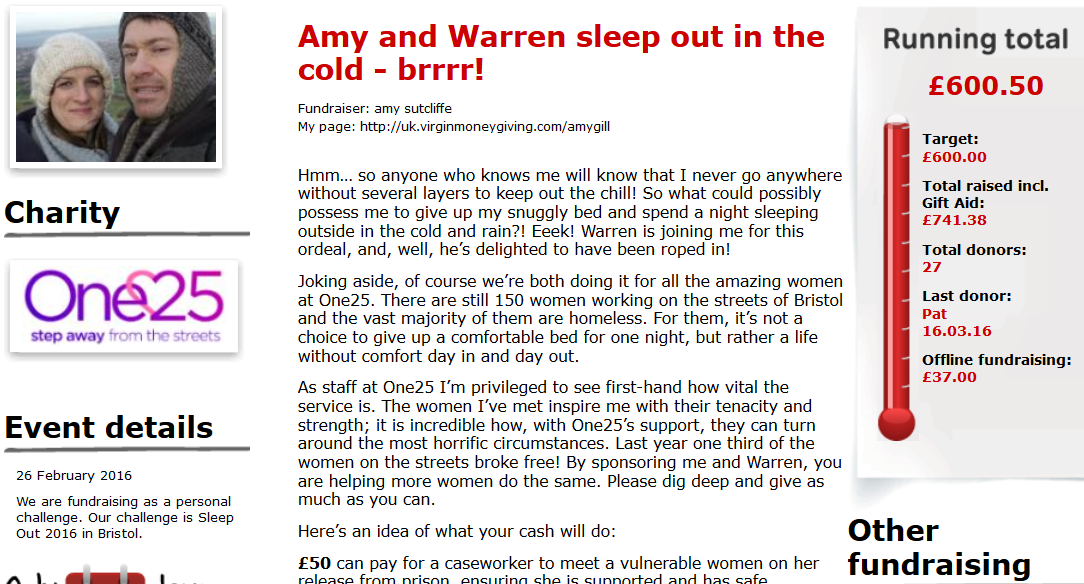 Amy's Sleep Out page