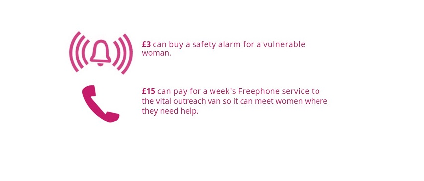 £3 can buy a safety alarm for a vulnerable woman. £15 can pay for a week